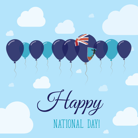 Montserrat National Day Flat Patriotic Poster. Row of Balloons in Colors of the Montserratian flag. Happy National Day Card with Flags, Balloons, Clouds and Sky. Illustration