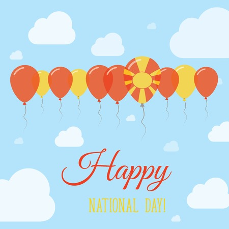 macedonian flag: Macedonia, the Former Yugoslav Republic Of National Day Flat Patriotic Poster. Row of Balloons in Colors of the Macedonian flag. Happy National Day Card with Flags, Balloons, Clouds and Sky.