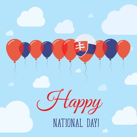 Slovakia National Day Flat Patriotic Poster. Row of Balloons in Colors of the Slovak flag. Happy National Day Card with Flags, Balloons, Clouds and Sky. Illustration
