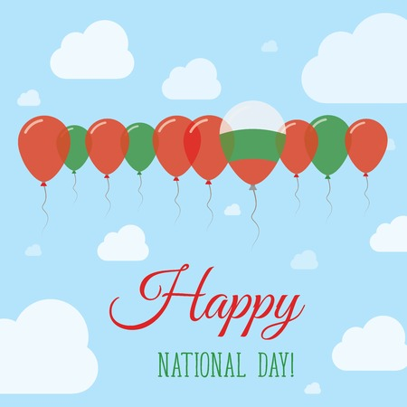 Bulgaria National Day Flat Patriotic Poster. Row of Balloons in Colors of the Bulgarian flag. Happy National Day Card with Flags, Balloons, Clouds and Sky.