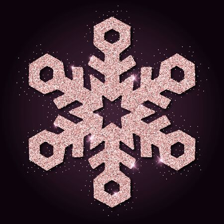 admirable: Pink golden glitter admirable snowflake. Luxurious christmas design element, vector illustration. Illustration