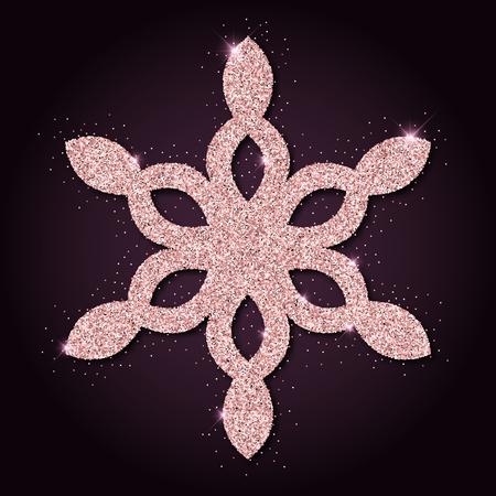 dazzling: Pink golden glitter dazzling snowflake. Luxurious christmas design element, vector illustration.