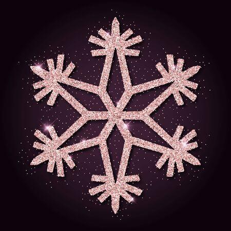 Pink golden glitter amazing snowflake. Luxurious christmas design element, vector illustration.