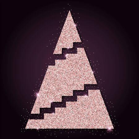 Pink golden glitter cool christmas tree. Luxurious christmas design element, vector illustration.