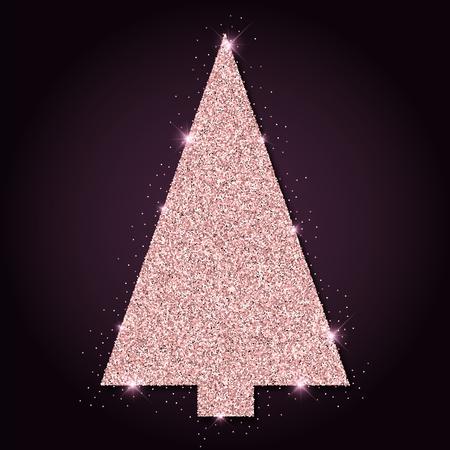 Pink golden glitter unique christmas tree. Luxurious christmas design element, vector illustration.