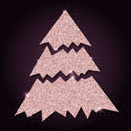 Pink golden glitter magnificent christmas tree. Luxurious christmas design element, vector illustration.