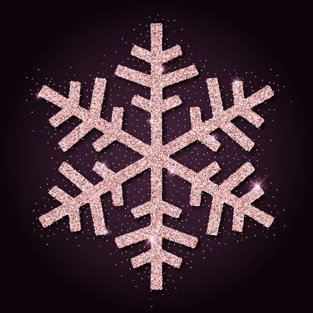 sheen: Pink golden glitter beauteous snowflake. Luxurious christmas design element, vector illustration.