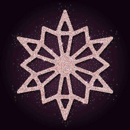 impressive: Pink golden glitter impressive snowflake. Luxurious christmas design element, vector illustration.
