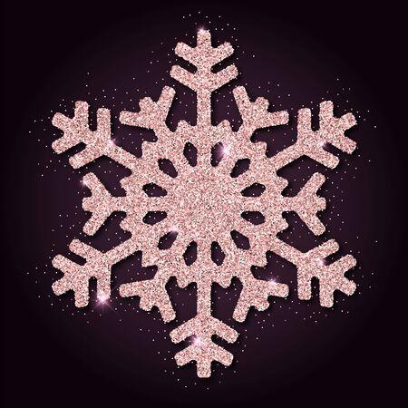 Pink golden glitter remarkable snowflake. Luxurious christmas design element, vector illustration.