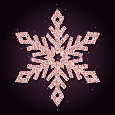 rejoicing: Pink golden glitter superb snowflake. Luxurious christmas design element, vector illustration.