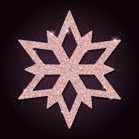 interesting: Pink golden glitter interesting snowflake. Luxurious christmas design element, vector illustration. Illustration