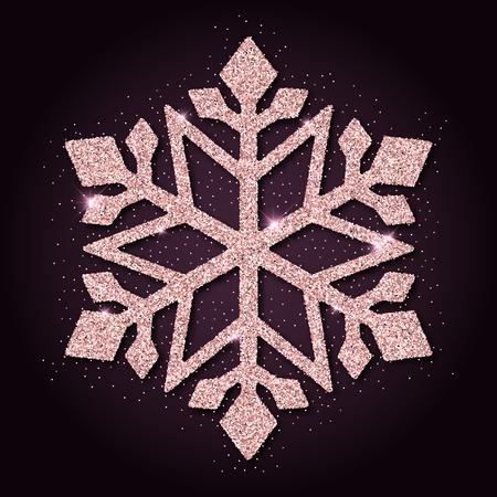 neat: Pink golden glitter neat snowflake. Luxurious christmas design element, vector illustration.