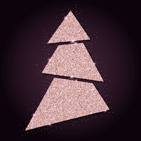 Pink golden glitter awesome christmas tree. Luxurious christmas design element, vector illustration.