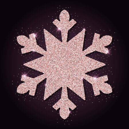 glamorous: Pink golden glitter glamorous snowflake. Luxurious christmas design element, vector illustration.