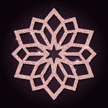 Pink golden glitter enchanting snowflake. Luxurious christmas design element, vector illustration.