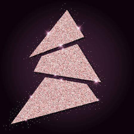 agleam: Pink golden glitter amazing christmas tree. Luxurious christmas design element, vector illustration. Illustration