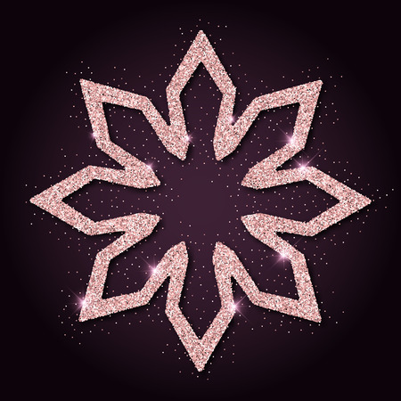 Pink golden glitter fascinating snowflake. Luxurious christmas design element, vector illustration.