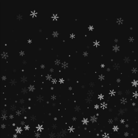 at the bottom of: Sparse snowfall. Bottom gradient on black background. Vector illustration.