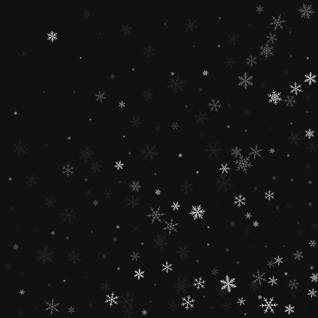 scatter: Sparse snowfall. Abstract random scatter on black background. Vector illustration.