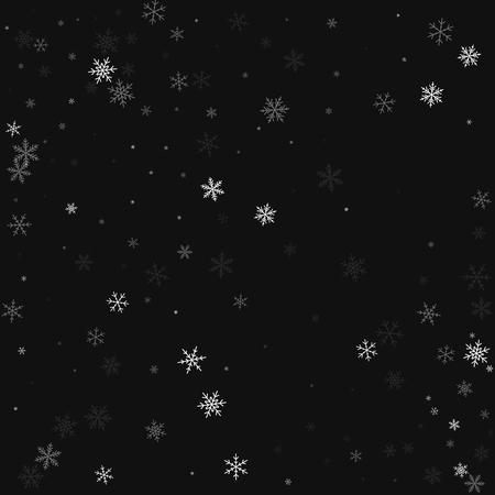 Sparse snowfall. Scatter pattern on black background. Vector illustration. Illustration
