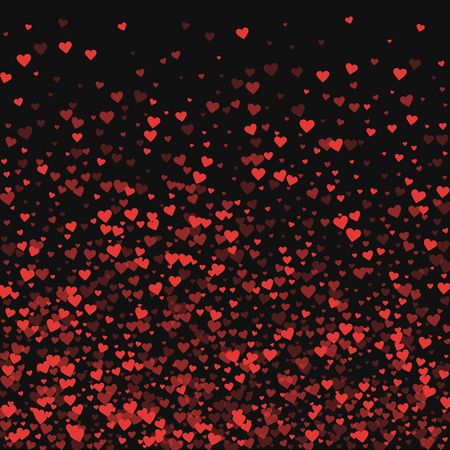 at the bottom of: Red hearts confetti. Bottom gradient on black valentine background. Vector illustration. Illustration