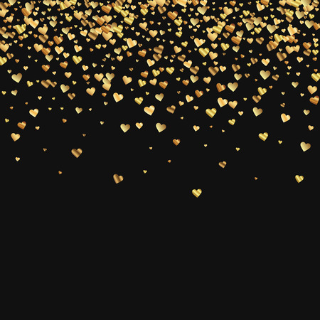 Gold gradient hearts confetti. Scatter top gradient on black valentine background. Vector illustration.