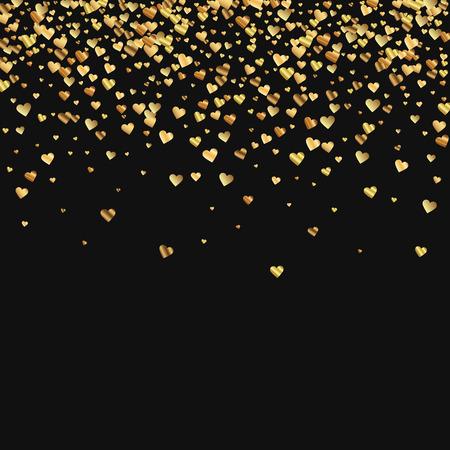 Gold gradient hearts confetti. Scatter top gradient on black valentine background. Vector illustration.