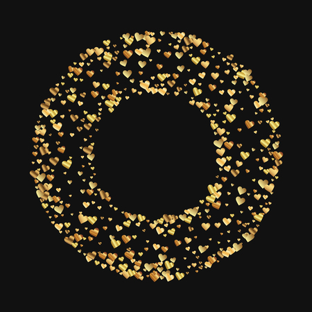 Gold gradient hearts confetti. Round bagel frame on black valentine background. Vector illustration.