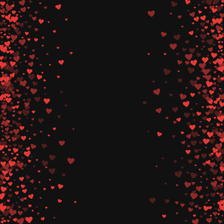 rite: Red hearts confetti. Scattered frame on black valentine background. Vector illustration.