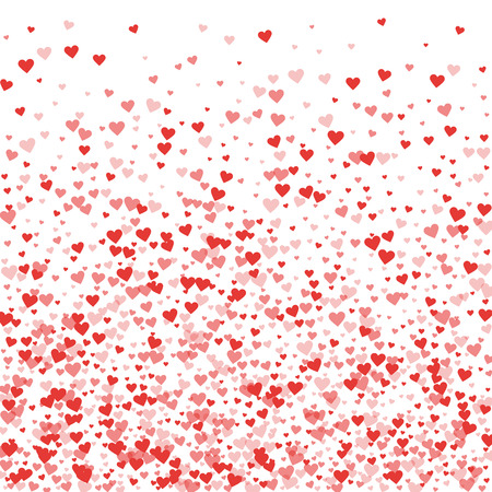 Red hearts confetti. Bottom gradient on white valentine background. Vector illustration. Illustration