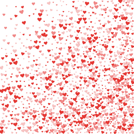 Red hearts confetti. Abstract random scatter on white valentine background. Vector illustration. Ilustrace