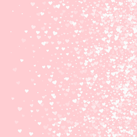 White hearts confetti. Right gradient on pale_pink valentine background. Vector illustration.