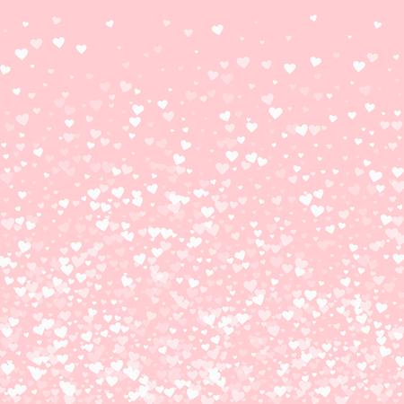 White hearts confetti. Bottom gradient on pale_pink valentine background. Vector illustration.