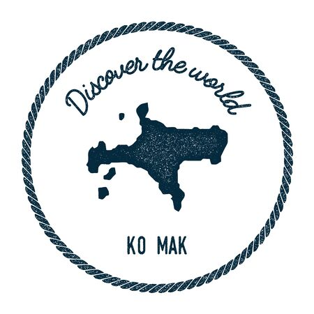 Ko Mak map in vintage discover the world insignia. Hipster style nautical postage stamp, with round rope border. Vector illustration.