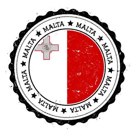 maltese map: Malta flag badge. Vintage travel stamp with circular text, stars and island flag inside it. Vector illustration.