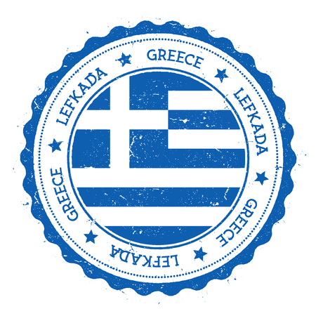 Lefkada flag badge. Vintage travel stamp with circular text, stars and island flag inside it. Vector illustration.