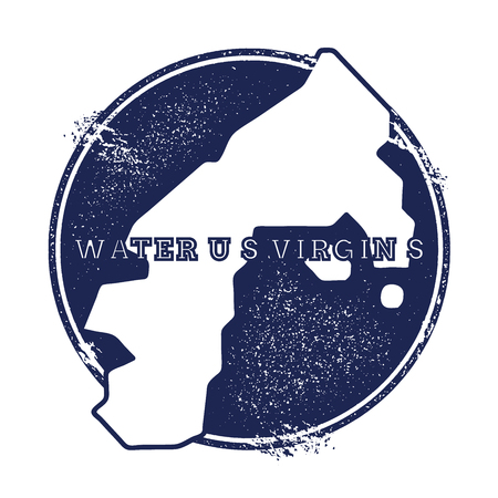 Water Island, U.S. Virgin Islands vector map. Grunge rubber stamp with the name and map of island, vector illustration. Can be used as insignia, logotype, label, sticker or badge.