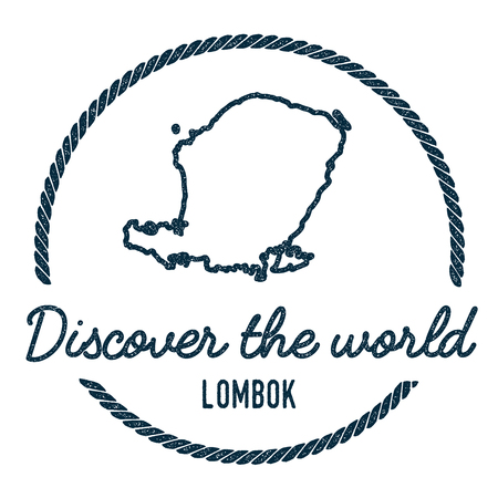 Lombok Map Outline. Vintage Discover the World Rubber Stamp with Island Map. Hipster Style Nautical Insignia, with Round Rope Border. Travel Vector Illustration.