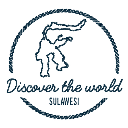 indo: Sulawesi Map Outline. Vintage Discover the World Rubber Stamp with Island Map. Hipster Style Nautical Insignia, with Round Rope Border. Travel Vector Illustration. Illustration