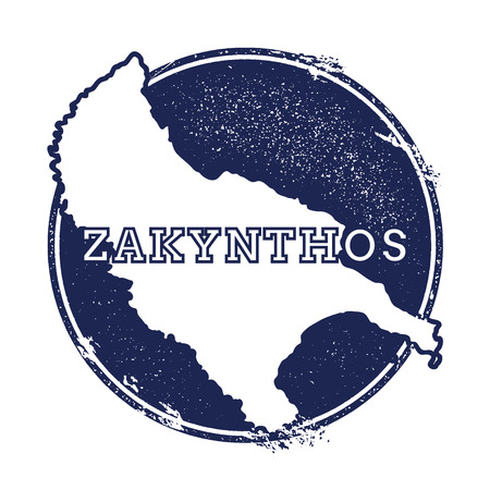 Zakynthos Island vector map. Grunge rubber stamp with the name and map of island, vector illustration. Can be used as insignia, logotype, label, sticker or badge. Illustration