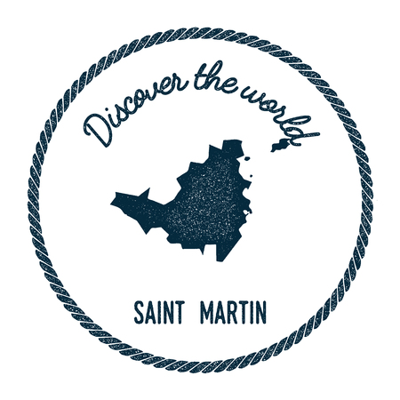 trotting: Saint Martin map in vintage discover the world insignia. Hipster style nautical postage stamp, with round rope border. Vector illustration.
