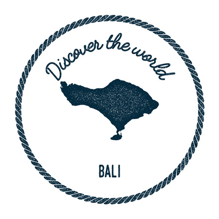 indo: Bali map in vintage discover the world insignia. Hipster style nautical postage stamp, with round rope border. Vector illustration.