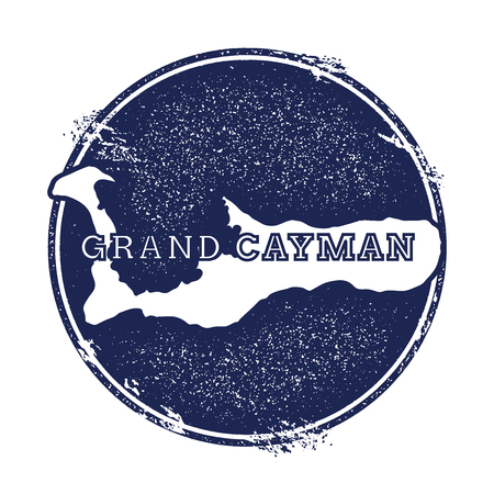 spotty: Grand Cayman vector map. Grunge rubber stamp with the name and map of island, vector illustration. Can be used as insignia, logotype, label, sticker or badge. Illustration