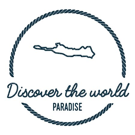 cachet: Paradise Island Map Outline. Vintage Discover the World Rubber Stamp with Island Map. Hipster Style Nautical Insignia, with Round Rope Border. Travel Vector Illustration.