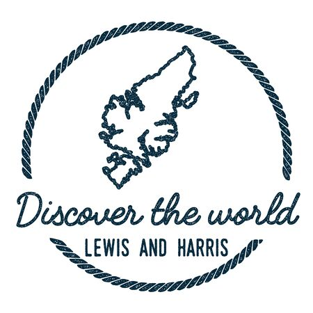 lewis: Lewis and Harris Map Outline. Vintage Discover the World Rubber Stamp with Island Map. Hipster Style Nautical Insignia, with Round Rope Border. Travel Vector Illustration.