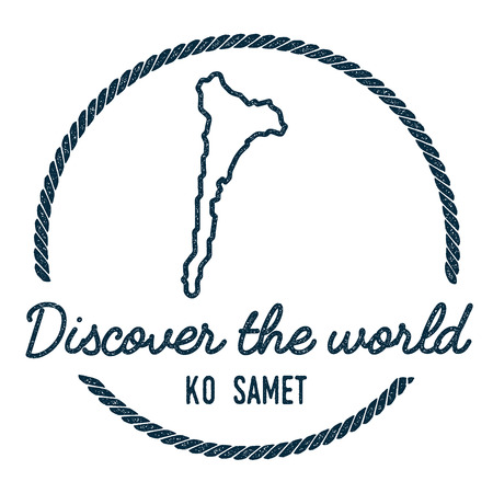 samet: Ko Samet Map Outline. Vintage Discover the World Rubber Stamp with Island Map. Hipster Style Nautical Insignia, with Round Rope Border. Travel Vector Illustration. Illustration