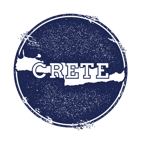 trotting: Crete vector map. Grunge rubber stamp with the name and map of island, vector illustration. Can be used as insignia, logotype, label, sticker or badge.