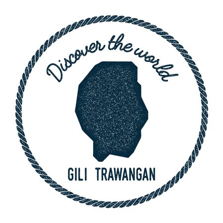 Gili Trawangan map in vintage discover the world insignia. Hipster style nautical postage stamp, with round rope border. Vector illustration. Illustration