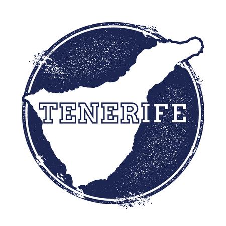 Mapa wektorowa Teneryfa. Grunge pieczątka z nazwą i mapę wyspy, ilustracji wektorowych. Może służyć jako insygnia, logotyp, etykieta, naklejka lub odznaka.