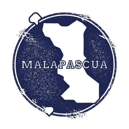 Malapascua Island vector map. Grunge rubber stamp with the name and map of island, vector illustration. Can be used as insignia, logotype, label, sticker or badge.